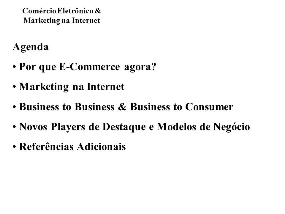 Agenda Por que E-Commerce agora? Marketing na Internet Business to Business & Business to Consumer Novos Players de Destaque e Modelos de Negócio Refe