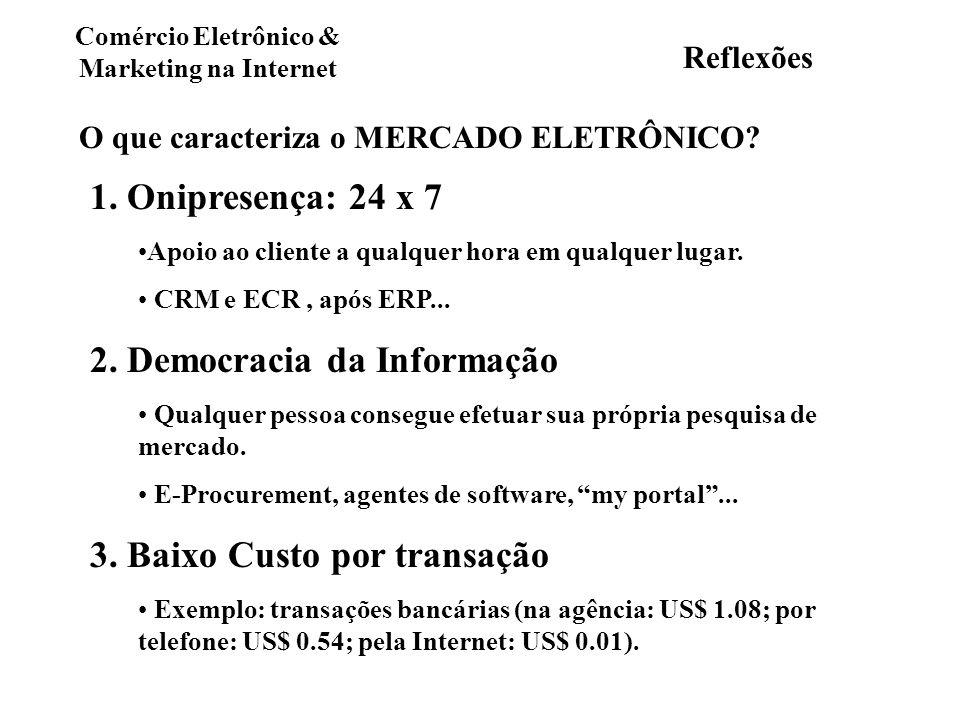 Comércio Eletrônico & Marketing na Internet Reflexões O que caracteriza o MERCADO ELETRÔNICO? 1. Onipresença: 24 x 7 Apoio ao cliente a qualquer hora