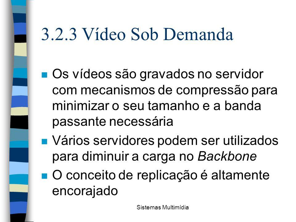 Sistemas Multimídia 3.2.3 Vídeo Sob Demanda n Os vídeos são gravados no servidor com mecanismos de compressão para minimizar o seu tamanho e a banda p