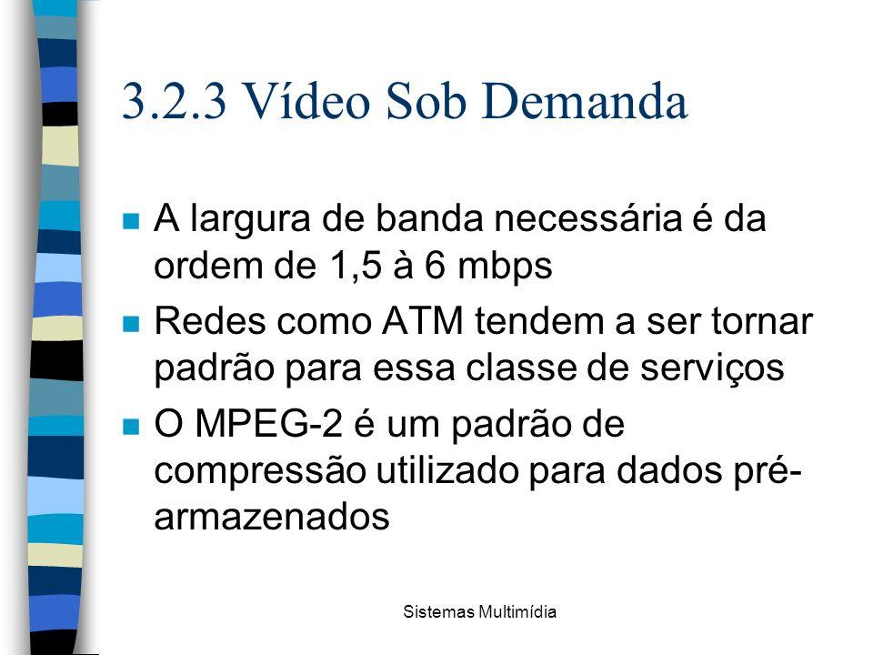Sistemas Multimídia 3.2.3 Vídeo Sob Demanda n A largura de banda necessária é da ordem de 1,5 à 6 mbps n Redes como ATM tendem a ser tornar padrão par