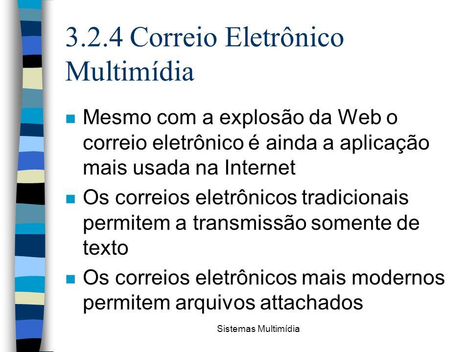 Sistemas Multimídia 3.2.4 Correio Eletrônico Multimídia n Mesmo com a explosão da Web o correio eletrônico é ainda a aplicação mais usada na Internet