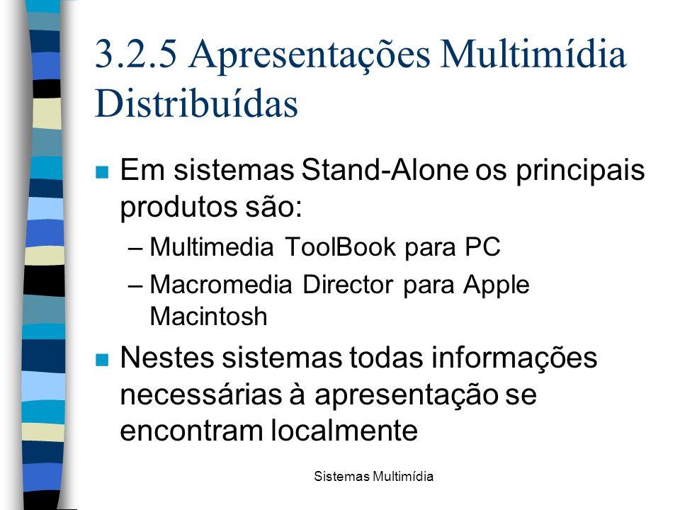 Sistemas Multimídia 3.2.5 Apresentações Multimídia Distribuídas n Em sistemas Stand-Alone os principais produtos são: –Multimedia ToolBook para PC –Ma