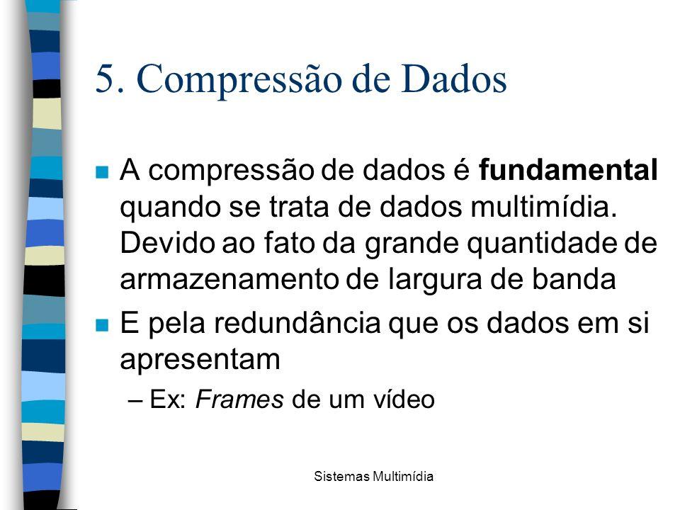 Sistemas Multimídia 5. Compressão de Dados n A compressão de dados é fundamental quando se trata de dados multimídia. Devido ao fato da grande quantid