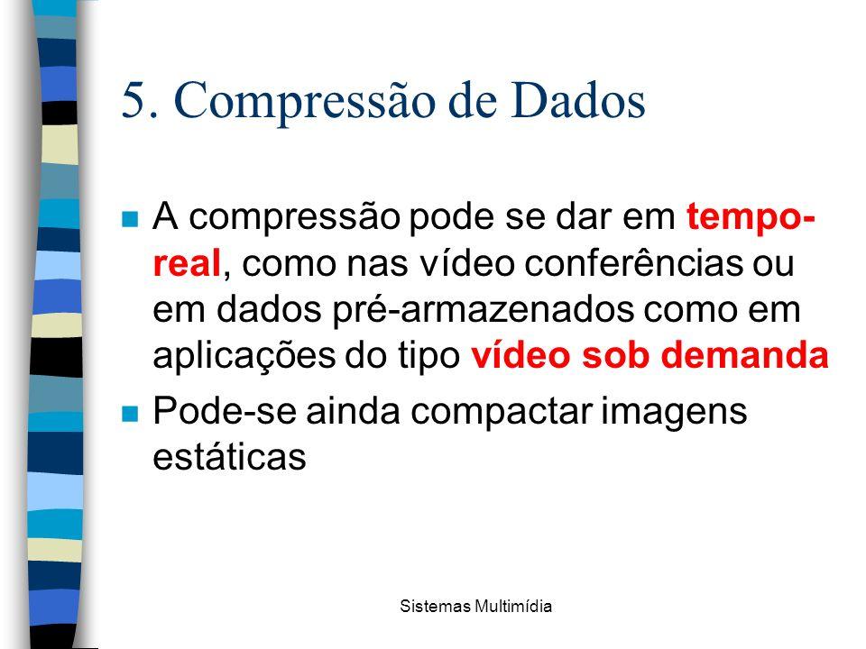 Sistemas Multimídia 5. Compressão de Dados n A compressão pode se dar em tempo- real, como nas vídeo conferências ou em dados pré-armazenados como em