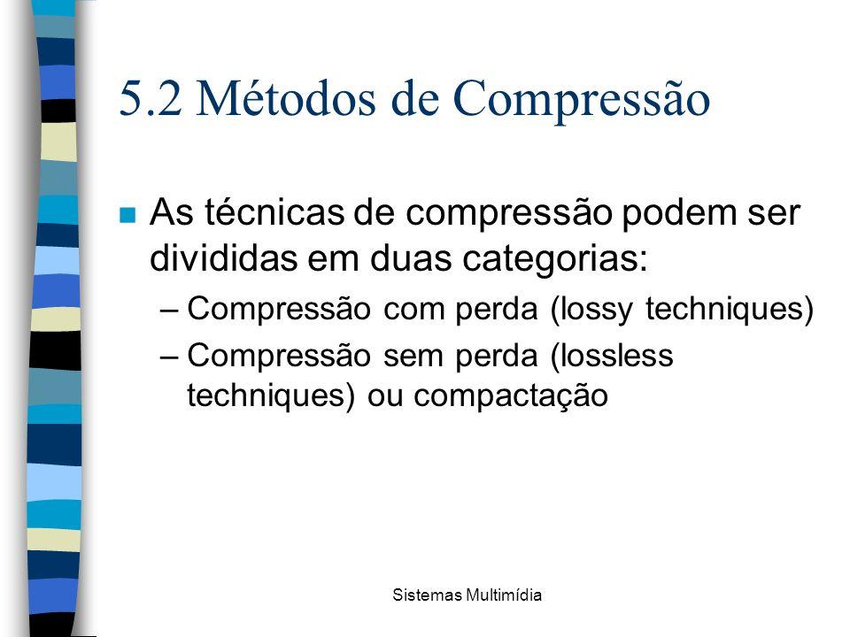 Sistemas Multimídia 5.2 Métodos de Compressão n As técnicas de compressão podem ser divididas em duas categorias: –Compressão com perda (lossy techniq