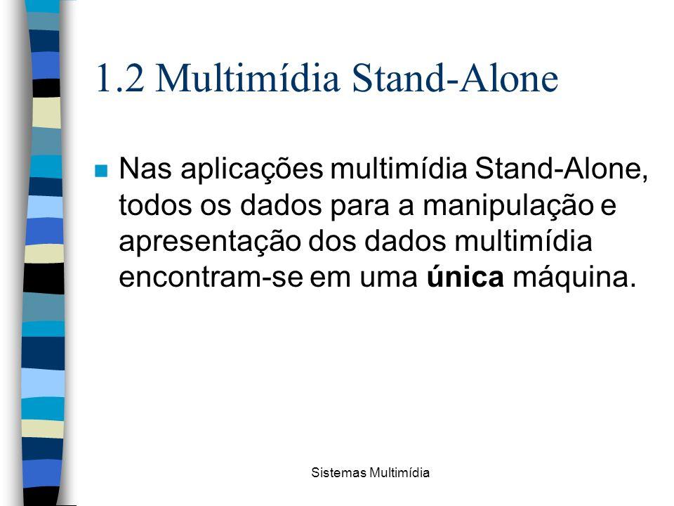 Sistemas Multimídia 1.2 Multimídia Stand-Alone n Nas aplicações multimídia Stand-Alone, todos os dados para a manipulação e apresentação dos dados mul