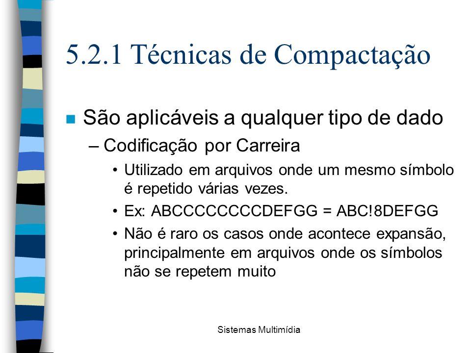 Sistemas Multimídia 5.2.1 Técnicas de Compactação n São aplicáveis a qualquer tipo de dado –Codificação por Carreira Utilizado em arquivos onde um mes