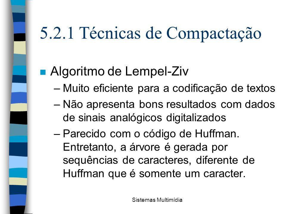 Sistemas Multimídia 5.2.1 Técnicas de Compactação n Algoritmo de Lempel-Ziv –Muito eficiente para a codificação de textos –Não apresenta bons resultad