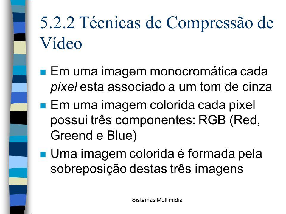 Sistemas Multimídia 5.2.2 Técnicas de Compressão de Vídeo n Em uma imagem monocromática cada pixel esta associado a um tom de cinza n Em uma imagem co