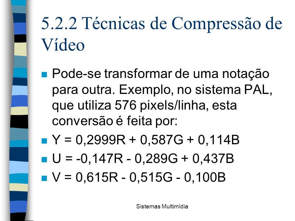 Sistemas Multimídia 5.2.2 Técnicas de Compressão de Vídeo n Pode-se transformar de uma notação para outra. Exemplo, no sistema PAL, que utiliza 576 pi