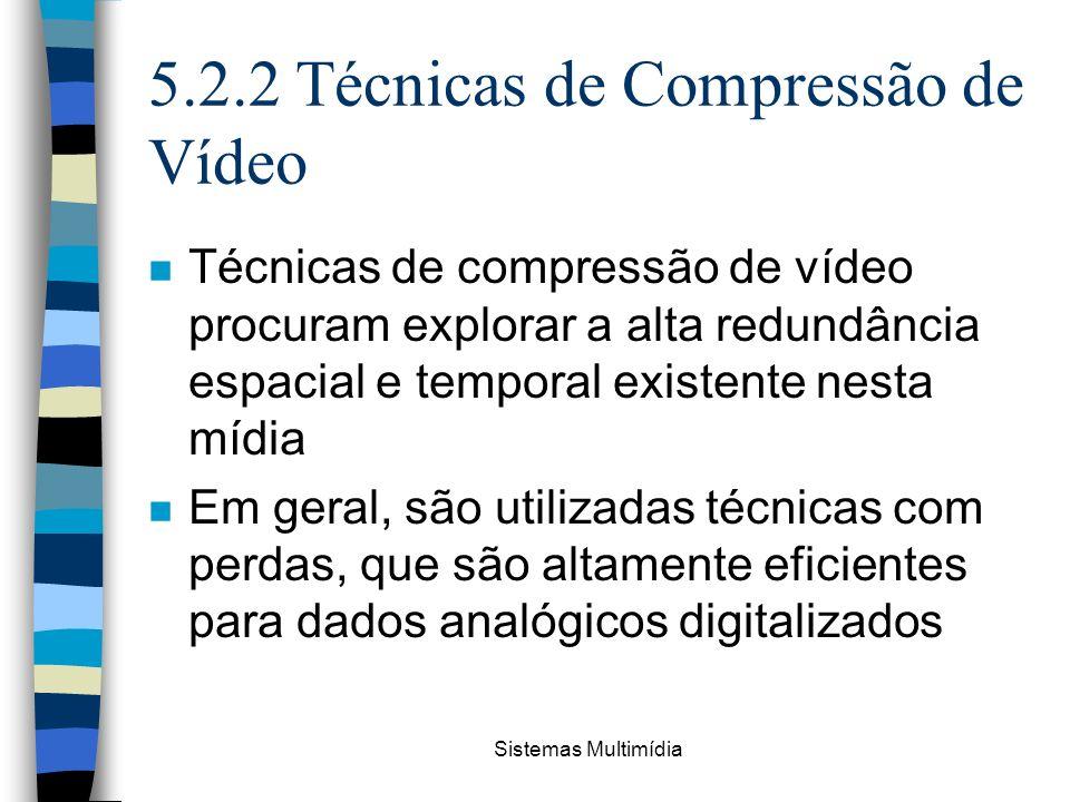 Sistemas Multimídia 5.2.2 Técnicas de Compressão de Vídeo n Técnicas de compressão de vídeo procuram explorar a alta redundância espacial e temporal e