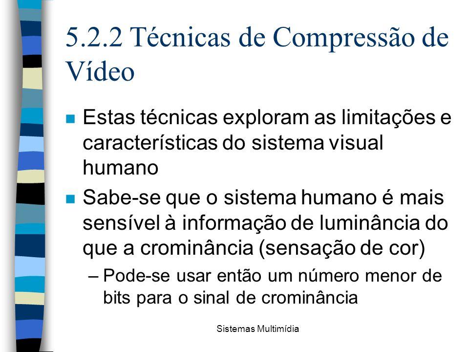 Sistemas Multimídia 5.2.2 Técnicas de Compressão de Vídeo n Estas técnicas exploram as limitações e características do sistema visual humano n Sabe-se