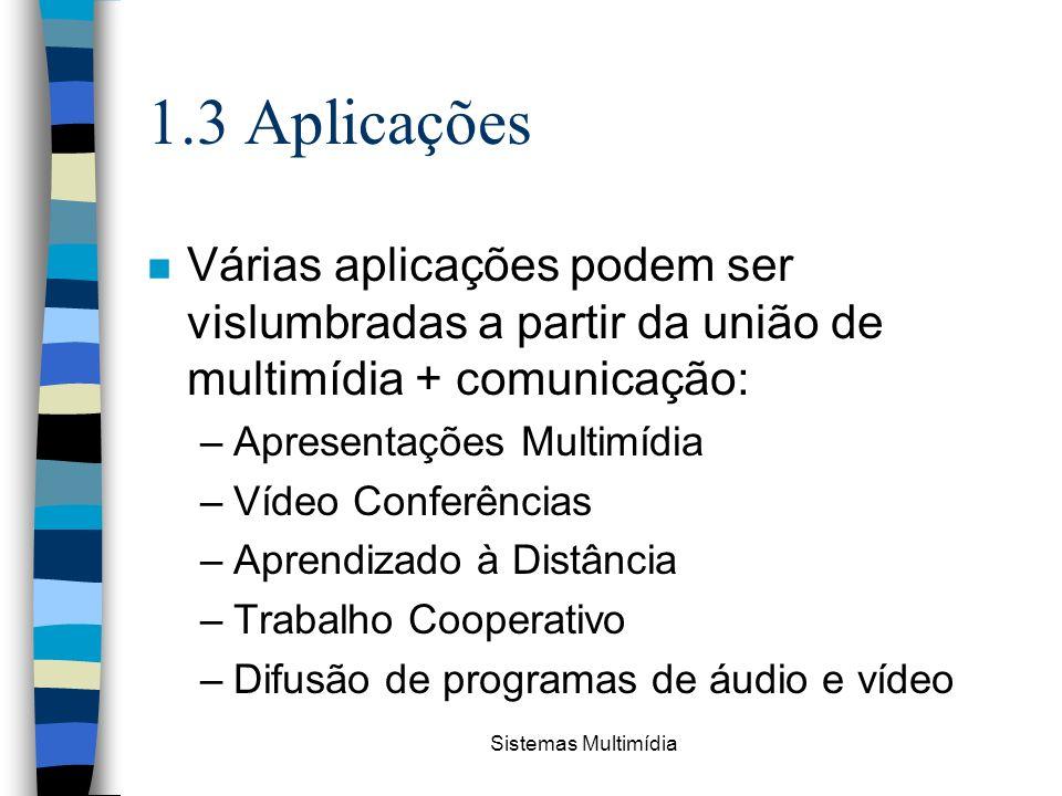 Sistemas Multimídia 1.3 Aplicações n Várias aplicações podem ser vislumbradas a partir da união de multimídia + comunicação: –Apresentações Multimídia
