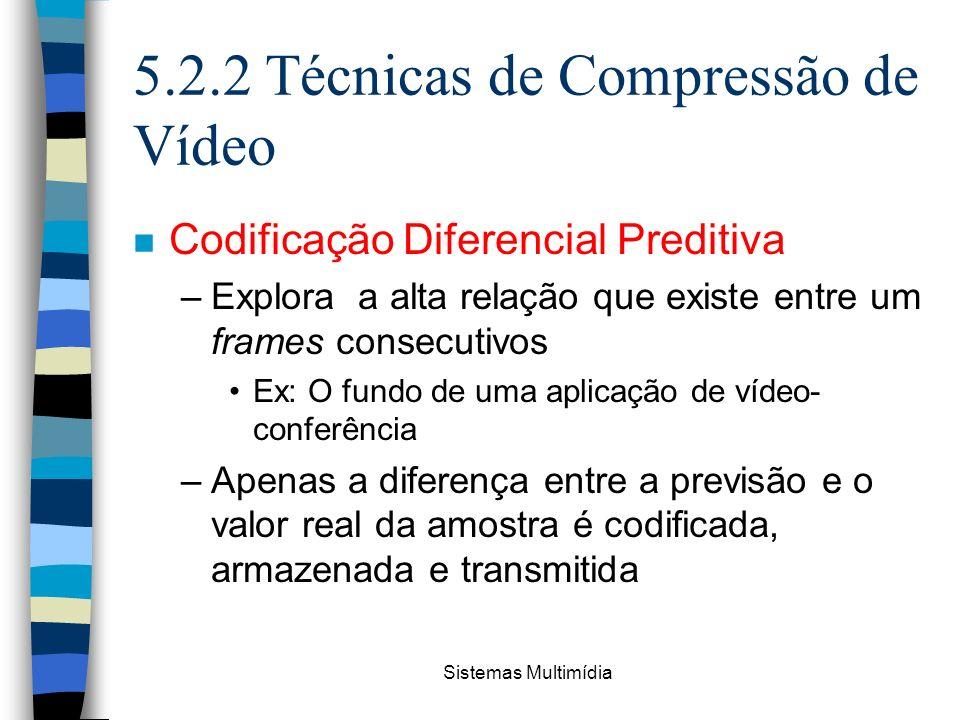 Sistemas Multimídia 5.2.2 Técnicas de Compressão de Vídeo n Codificação Diferencial Preditiva –Explora a alta relação que existe entre um frames conse