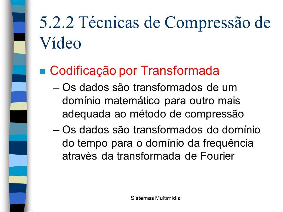 Sistemas Multimídia 5.2.2 Técnicas de Compressão de Vídeo n Codificação por Transformada –Os dados são transformados de um domínio matemático para out