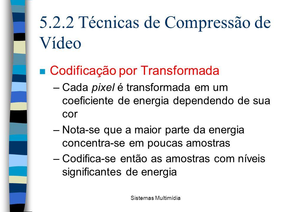 Sistemas Multimídia 5.2.2 Técnicas de Compressão de Vídeo n Codificação por Transformada –Cada pixel é transformada em um coeficiente de energia depen