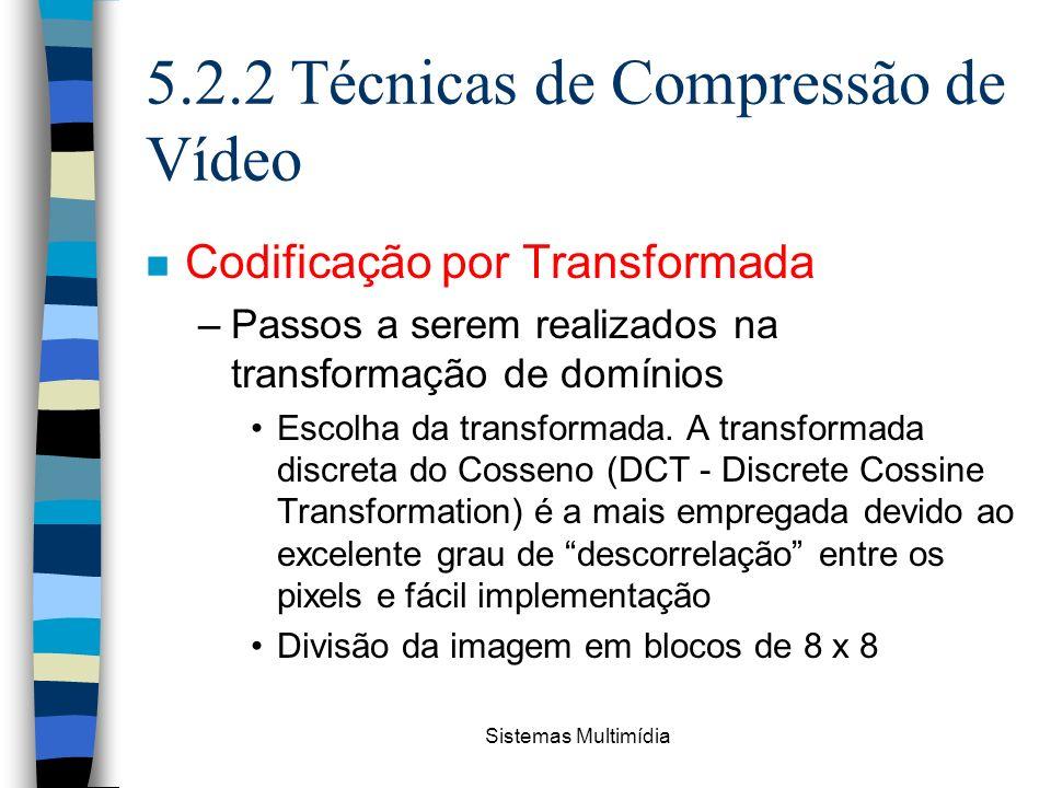 Sistemas Multimídia 5.2.2 Técnicas de Compressão de Vídeo n Codificação por Transformada –Passos a serem realizados na transformação de domínios Escol