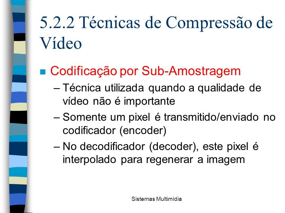 Sistemas Multimídia 5.2.2 Técnicas de Compressão de Vídeo n Codificação por Sub-Amostragem –Técnica utilizada quando a qualidade de vídeo não é import