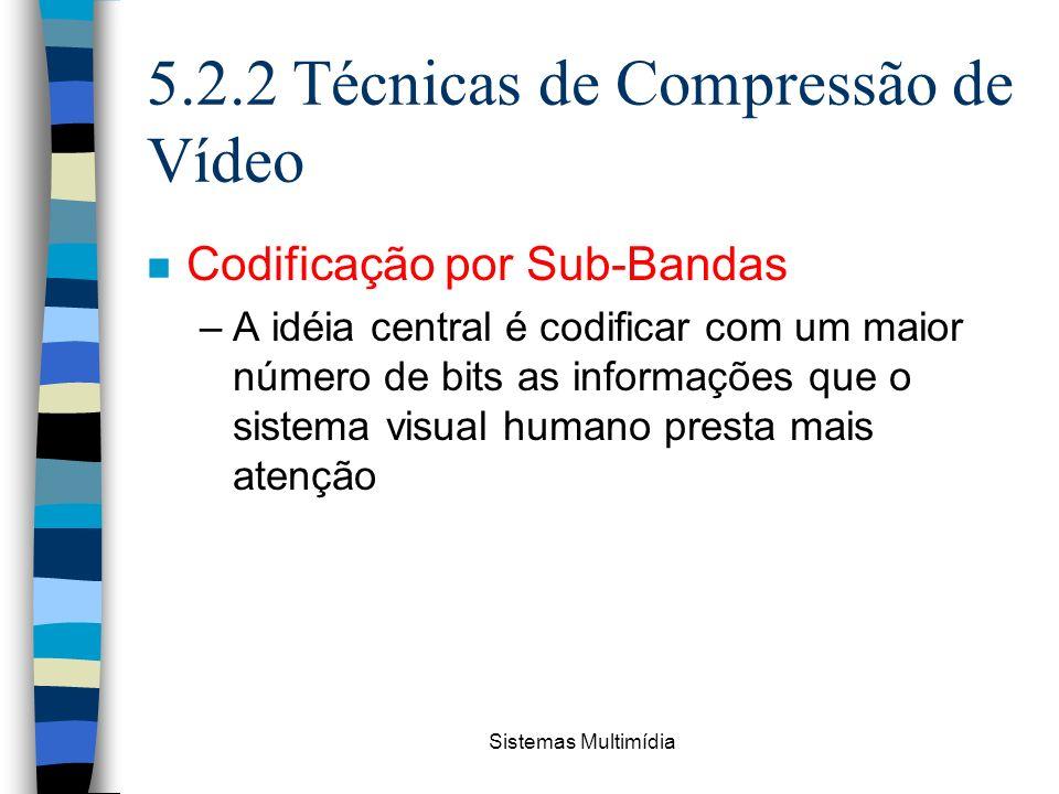 Sistemas Multimídia 5.2.2 Técnicas de Compressão de Vídeo n Codificação por Sub-Bandas –A idéia central é codificar com um maior número de bits as inf