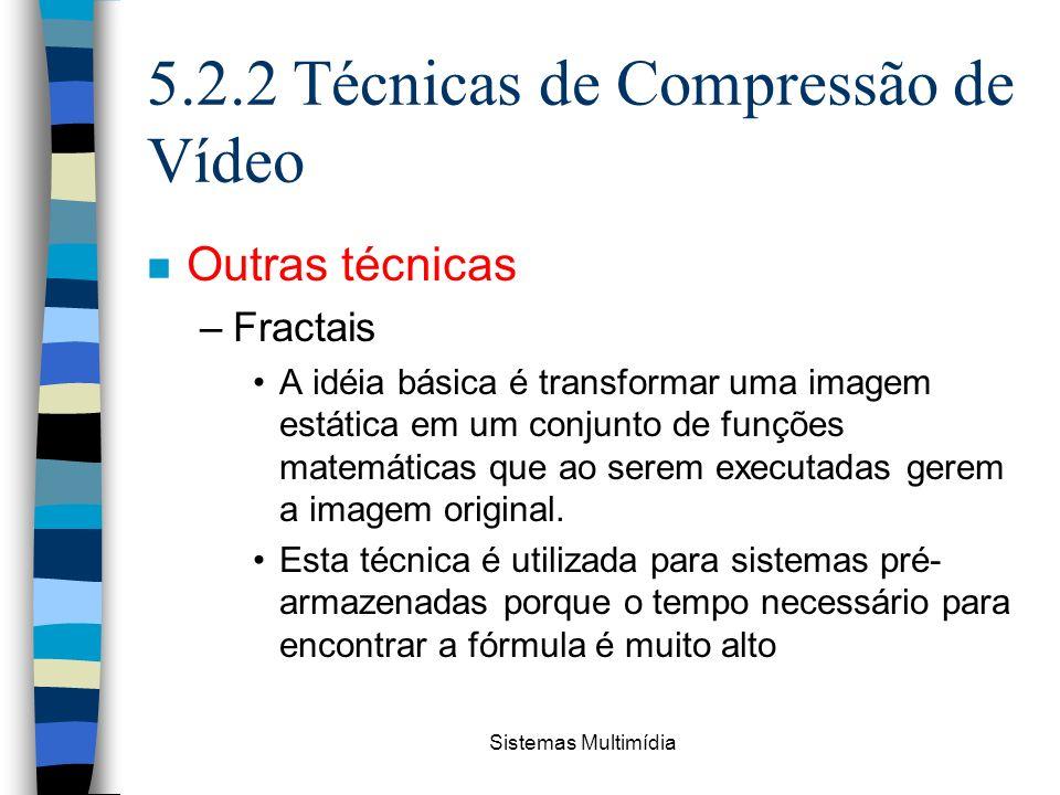 Sistemas Multimídia 5.2.2 Técnicas de Compressão de Vídeo n Outras técnicas –Fractais A idéia básica é transformar uma imagem estática em um conjunto