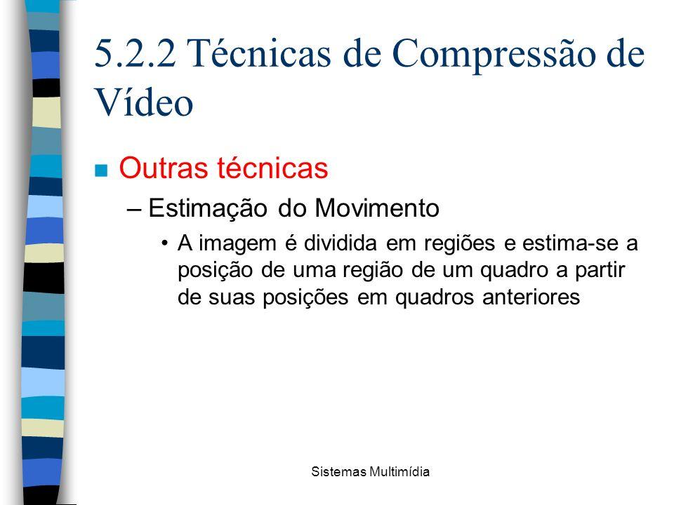Sistemas Multimídia 5.2.2 Técnicas de Compressão de Vídeo n Outras técnicas –Estimação do Movimento A imagem é dividida em regiões e estima-se a posiç