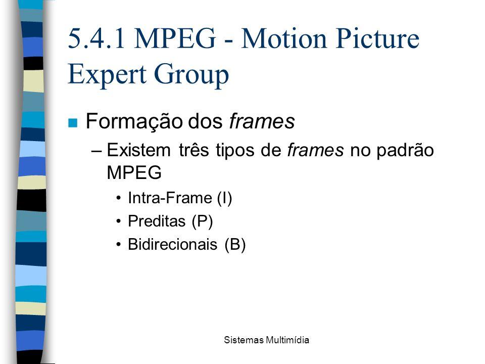 Sistemas Multimídia 5.4.1 MPEG - Motion Picture Expert Group n Formação dos frames –Existem três tipos de frames no padrão MPEG Intra-Frame (I) Predit