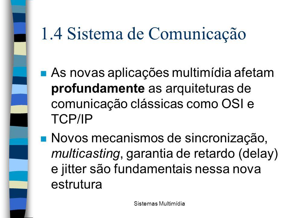 Sistemas Multimídia 1.4 Sistema de Comunicação n As novas aplicações multimídia afetam profundamente as arquiteturas de comunicação clássicas como OSI