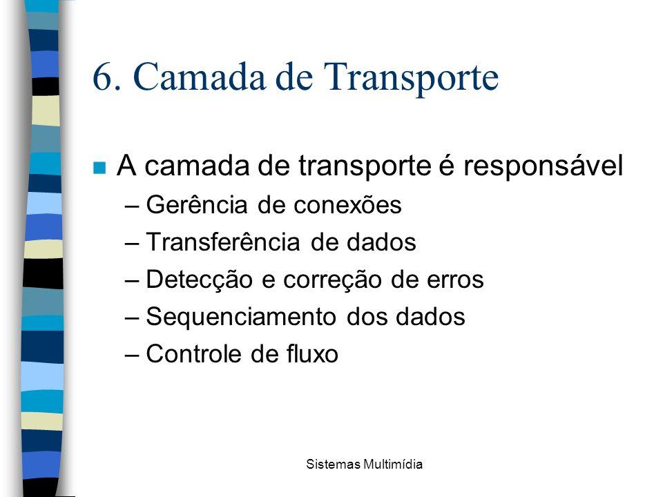 Sistemas Multimídia 6. Camada de Transporte n A camada de transporte é responsável –Gerência de conexões –Transferência de dados –Detecção e correção