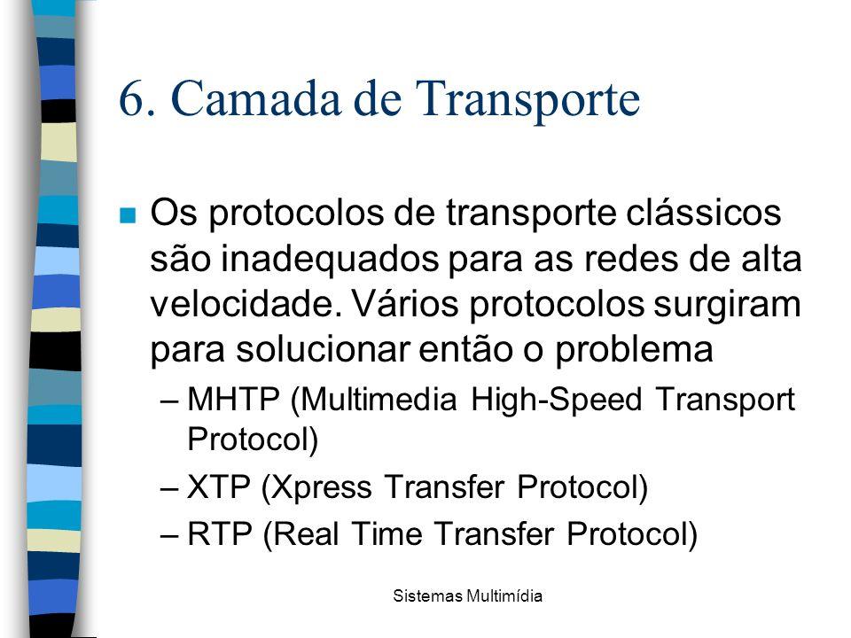 Sistemas Multimídia 6. Camada de Transporte n Os protocolos de transporte clássicos são inadequados para as redes de alta velocidade. Vários protocolo