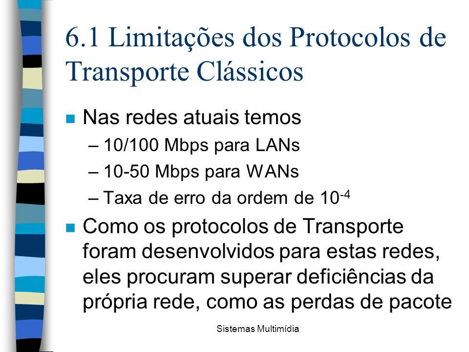 Sistemas Multimídia 6.1 Limitações dos Protocolos de Transporte Clássicos n Nas redes atuais temos –10/100 Mbps para LANs –10-50 Mbps para WANs –Taxa