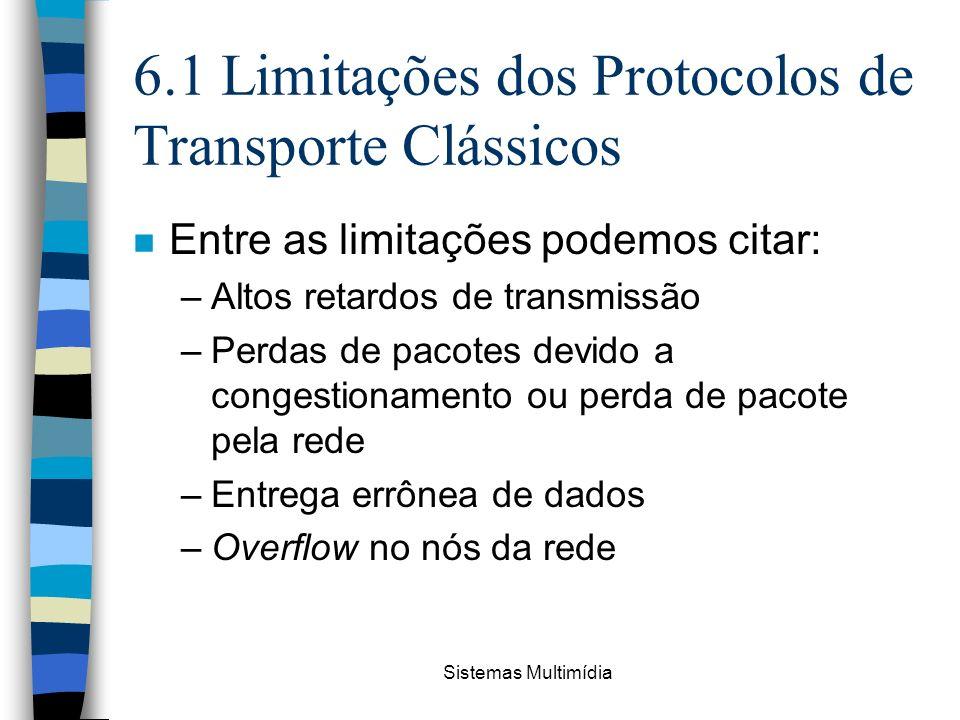 Sistemas Multimídia 6.1 Limitações dos Protocolos de Transporte Clássicos n Entre as limitações podemos citar: –Altos retardos de transmissão –Perdas