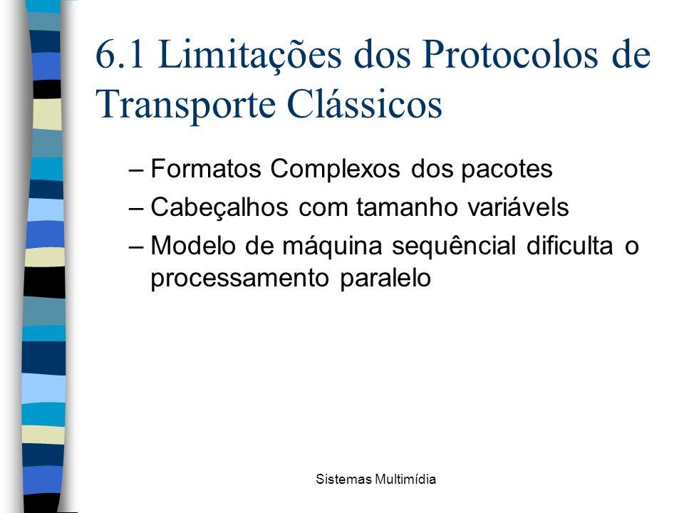 Sistemas Multimídia 6.1 Limitações dos Protocolos de Transporte Clássicos –Formatos Complexos dos pacotes –Cabeçalhos com tamanho variávels –Modelo de