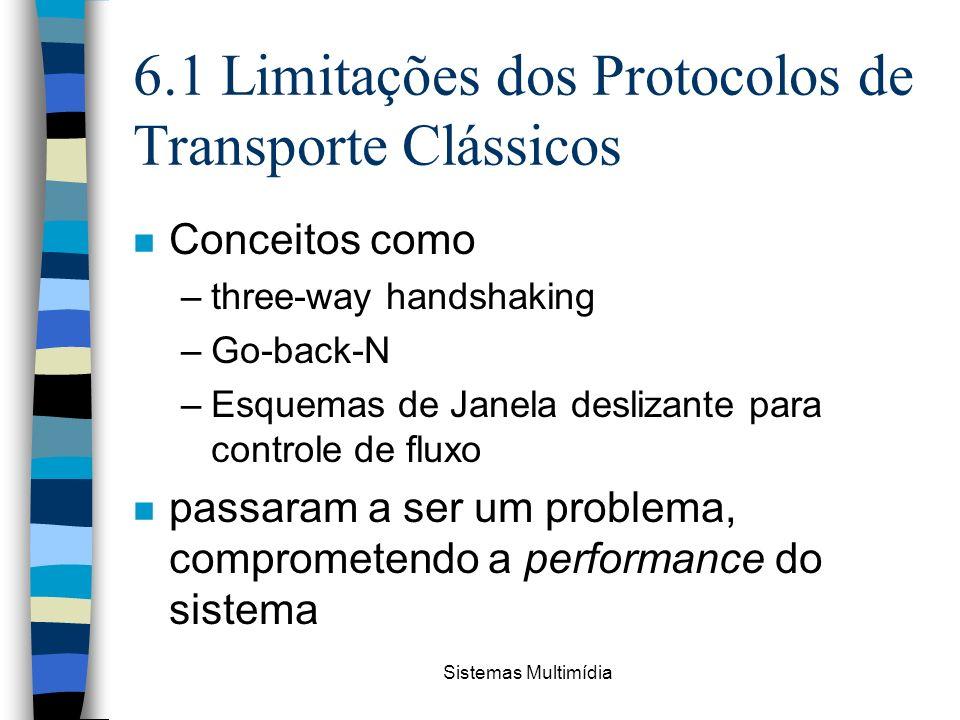 Sistemas Multimídia 6.1 Limitações dos Protocolos de Transporte Clássicos n Conceitos como –three-way handshaking –Go-back-N –Esquemas de Janela desli