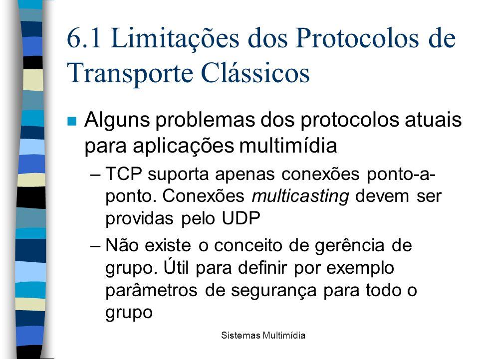 Sistemas Multimídia 6.1 Limitações dos Protocolos de Transporte Clássicos n Alguns problemas dos protocolos atuais para aplicações multimídia –TCP sup
