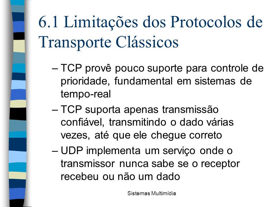 Sistemas Multimídia 6.1 Limitações dos Protocolos de Transporte Clássicos –TCP provê pouco suporte para controle de prioridade, fundamental em sistema