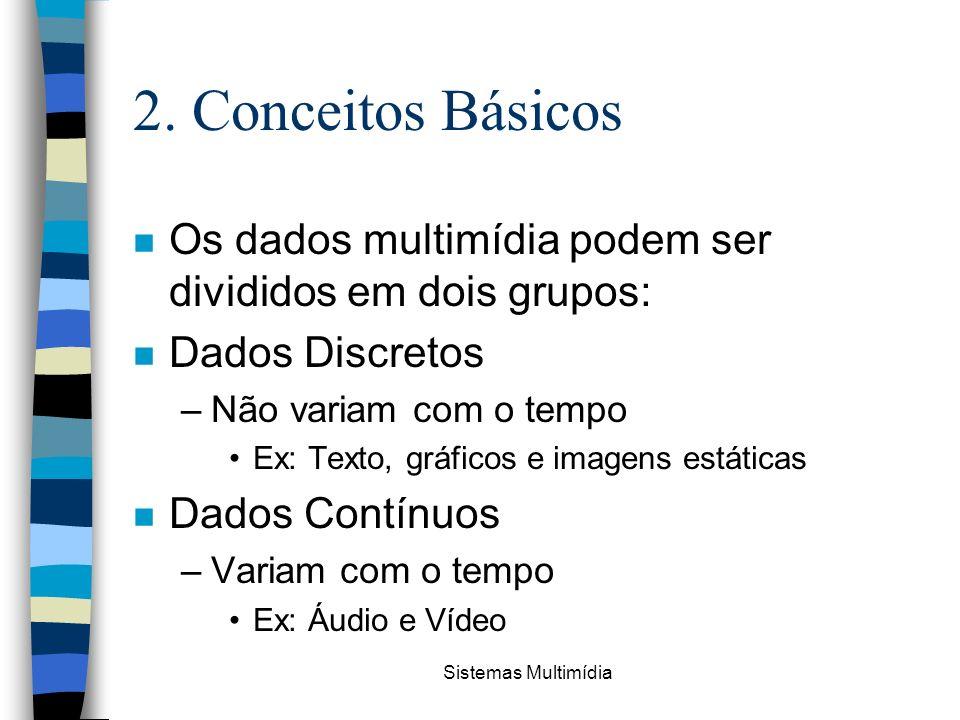 Sistemas Multimídia 2. Conceitos Básicos n Os dados multimídia podem ser divididos em dois grupos: n Dados Discretos –Não variam com o tempo Ex: Texto