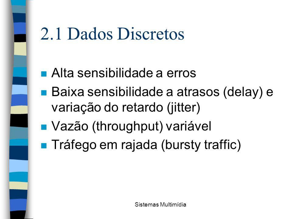 Sistemas Multimídia 2.1 Dados Discretos n Alta sensibilidade a erros n Baixa sensibilidade a atrasos (delay) e variação do retardo (jitter) n Vazão (t