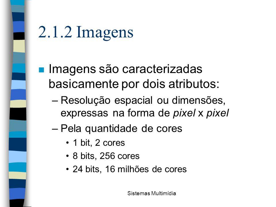 Sistemas Multimídia 2.1.2 Imagens n Imagens são caracterizadas basicamente por dois atributos: –Resolução espacial ou dimensões, expressas na forma de