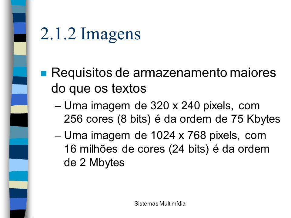 Sistemas Multimídia 2.1.2 Imagens n Requisitos de armazenamento maiores do que os textos –Uma imagem de 320 x 240 pixels, com 256 cores (8 bits) é da