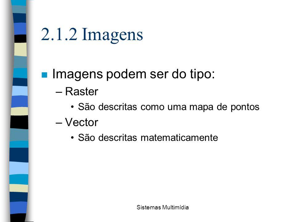Sistemas Multimídia 2.1.2 Imagens n Imagens podem ser do tipo: –Raster São descritas como uma mapa de pontos –Vector São descritas matematicamente