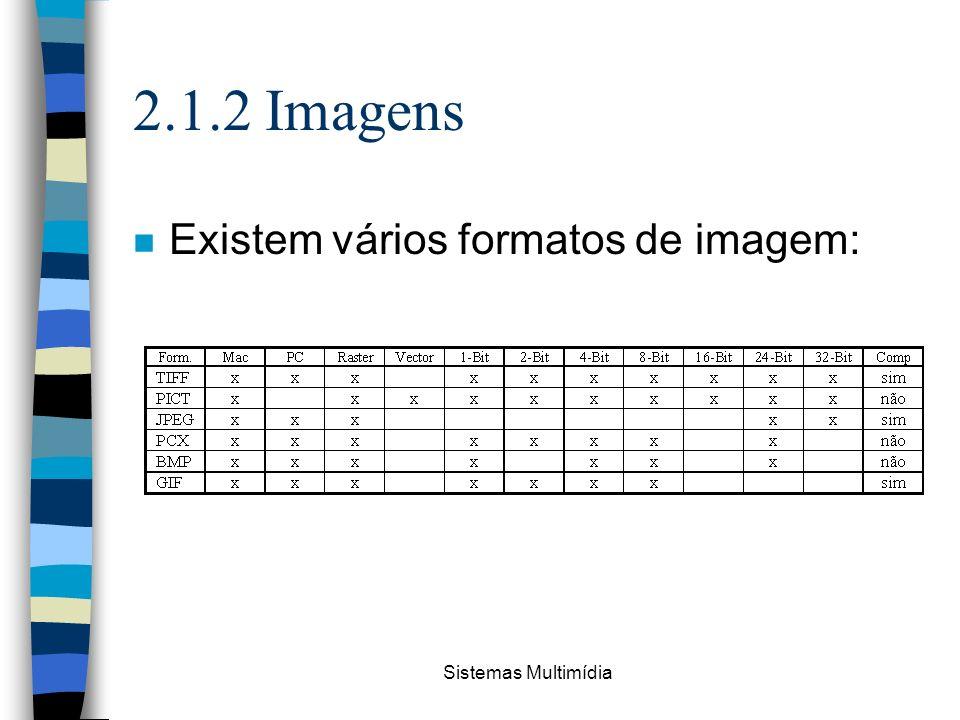 Sistemas Multimídia 2.1.2 Imagens n Existem vários formatos de imagem:
