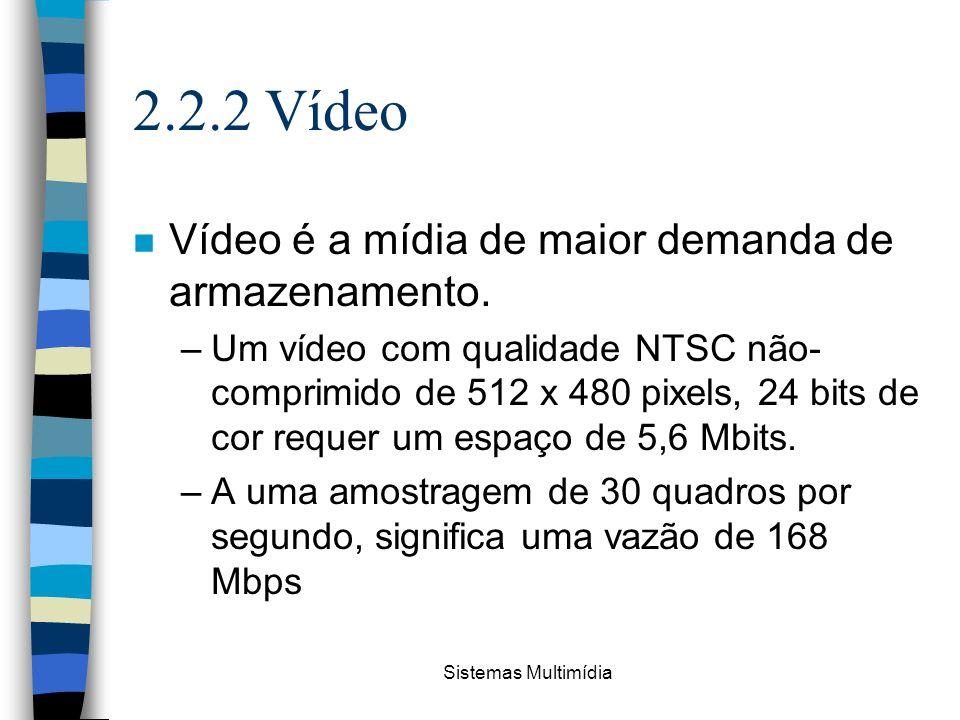 Sistemas Multimídia 2.2.2 Vídeo n Vídeo é a mídia de maior demanda de armazenamento. –Um vídeo com qualidade NTSC não- comprimido de 512 x 480 pixels,