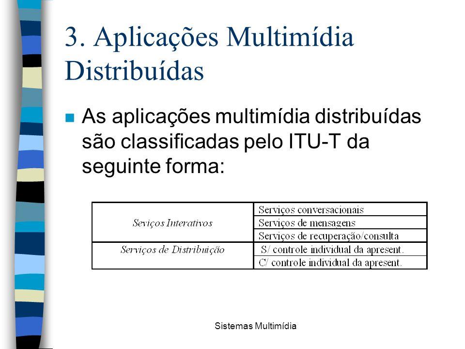 Sistemas Multimídia 3. Aplicações Multimídia Distribuídas n As aplicações multimídia distribuídas são classificadas pelo ITU-T da seguinte forma: