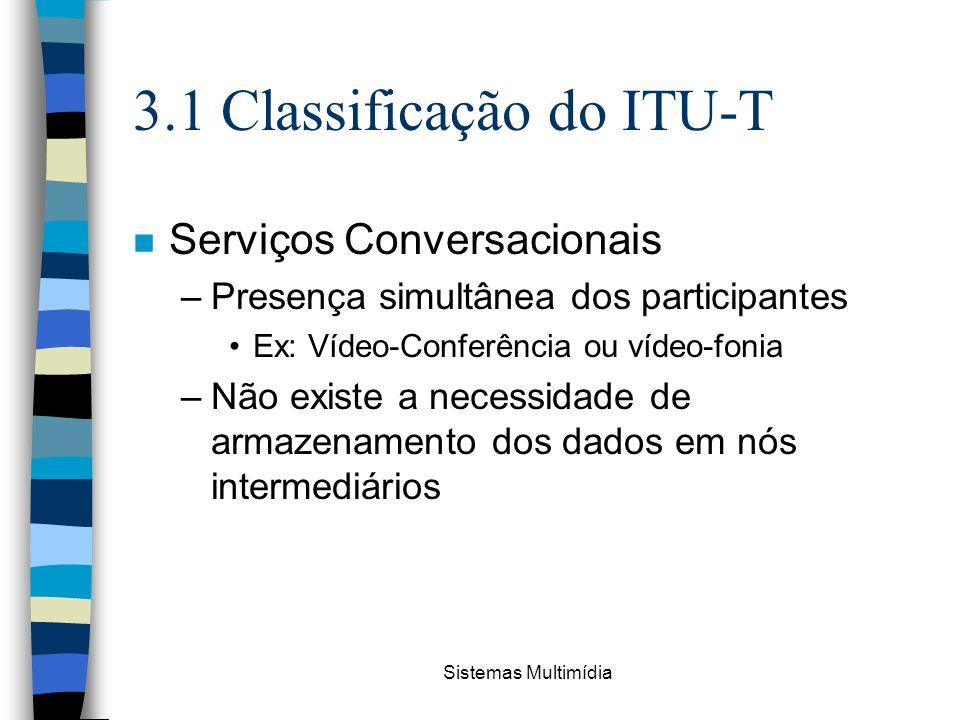 Sistemas Multimídia 3.1 Classificação do ITU-T n Serviços Conversacionais –Presença simultânea dos participantes Ex: Vídeo-Conferência ou vídeo-fonia