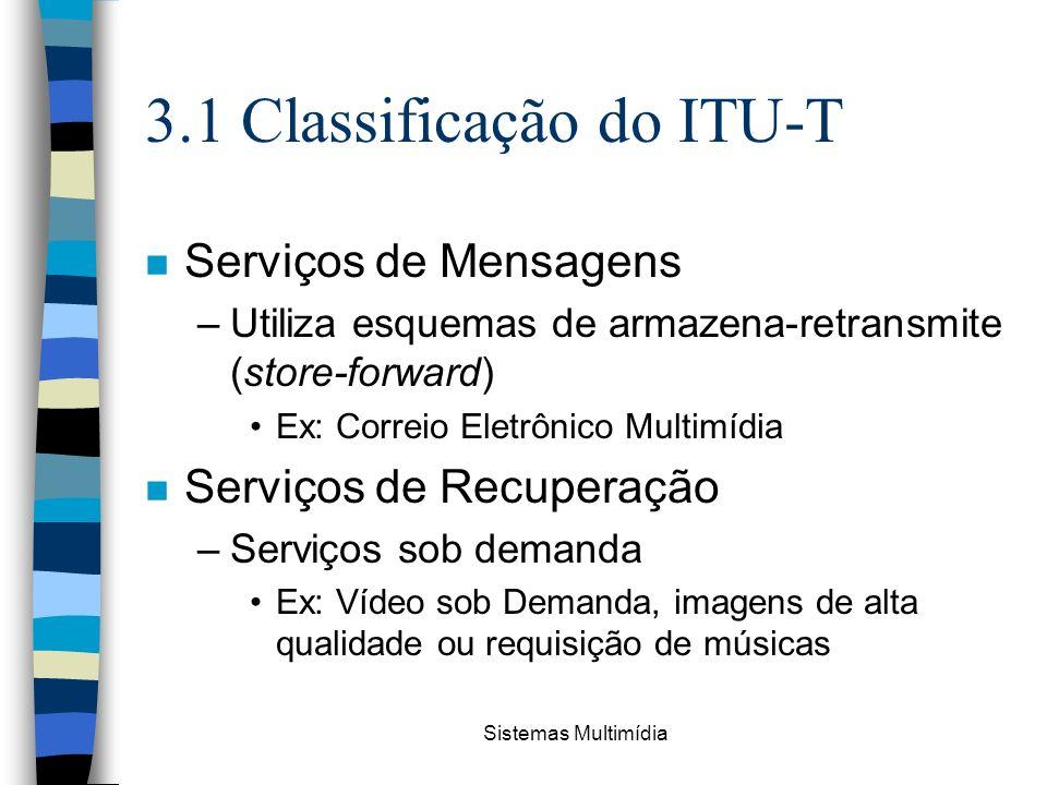 Sistemas Multimídia 3.1 Classificação do ITU-T n Serviços de Mensagens –Utiliza esquemas de armazena-retransmite (store-forward) Ex: Correio Eletrônic