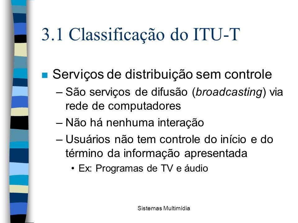 Sistemas Multimídia 3.1 Classificação do ITU-T n Serviços de distribuição sem controle –São serviços de difusão (broadcasting) via rede de computadore