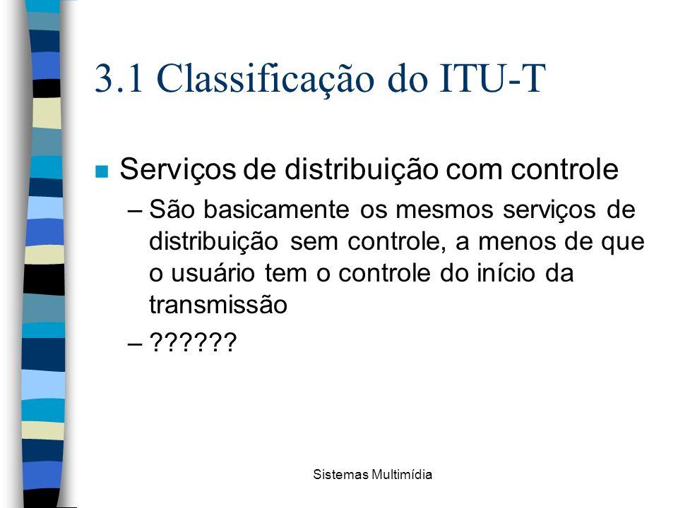 Sistemas Multimídia 3.1 Classificação do ITU-T n Serviços de distribuição com controle –São basicamente os mesmos serviços de distribuição sem control