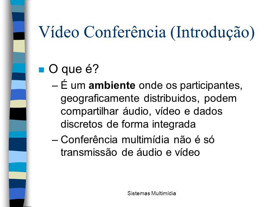 Sistemas Multimídia Vídeo Conferência (Introdução) n O que é? –É um ambiente onde os participantes, geograficamente distribuidos, podem compartilhar á