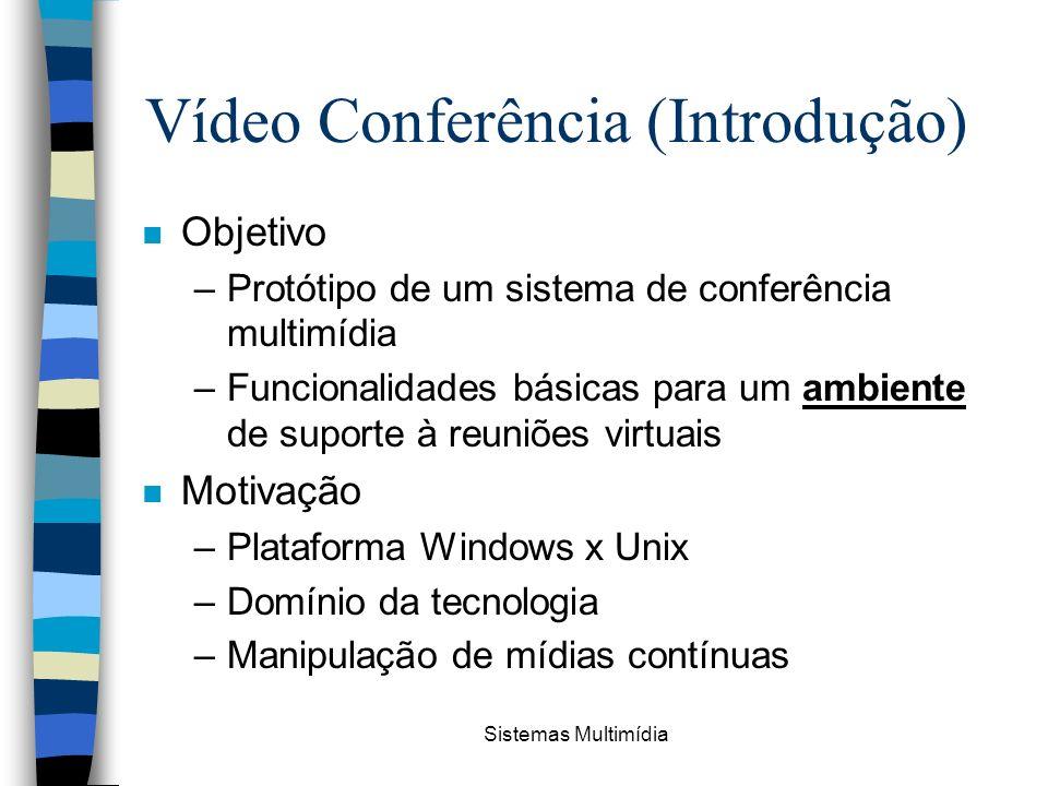 Sistemas Multimídia Vídeo Conferência (Introdução) n Objetivo –Protótipo de um sistema de conferência multimídia –Funcionalidades básicas para um ambi