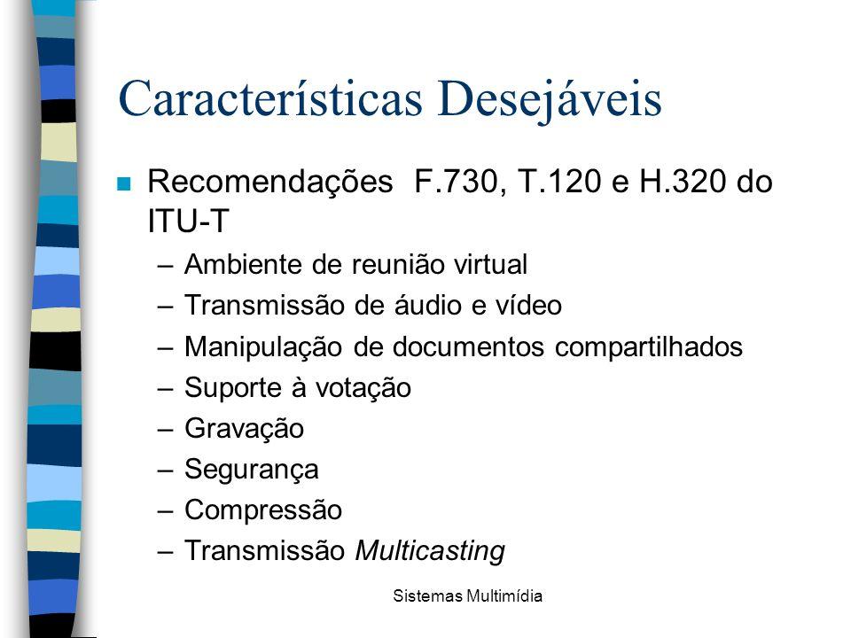 Sistemas Multimídia Características Desejáveis n Recomendações F.730, T.120 e H.320 do ITU-T –Ambiente de reunião virtual –Transmissão de áudio e víde